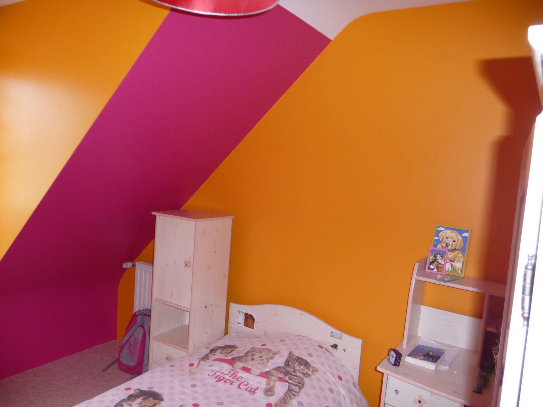 ... Chambre Murs Orange Et Rose ...